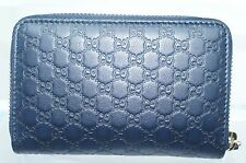 Gucci Men's Blue Wallet Zip Around Card Case Microguccissima Soft Leather NWT