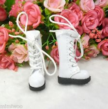 16cm Lati Yellow Basic Bjd Blythe Pullip Doll Shoes PU Leather Long Boots WHITE