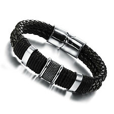 Mens Unisex Stainless Steel Black Genuine Leather Bracelet G87
