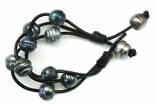 Natural Circle Pearls Peacock Silver Large Black Leather Pearl Bracelet 7 8 Wrap