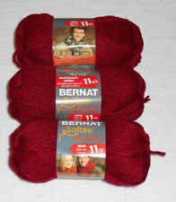 Bernat Softee Chunky Yarn Lot Of 3 Skeins (Wine #28532)