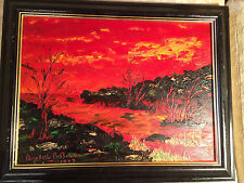 "Nice Elizabeth B Bowen 1977 ""Angry Storm"" Oil On Board Painting - Framed"