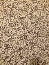 "Vtg Pair Lace Floral Roses Curtains 57"" W x 80"" L Off White (2 panels)"