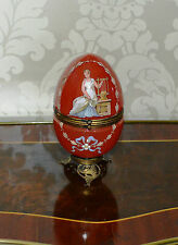 Antique Hand Painted Opaline Opening Red Glass Egg with Gilt Ormolou Mounts