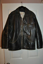 RARE  CIA DE COURO Men's Brown DISTRESSED Leather AVIATOR FLIGHT Jacket sz M