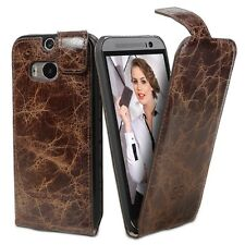Bouletta Leather Phone Case for HTC One M8 [Flip Case Vessel Brown]