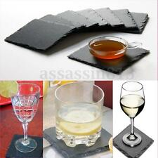 8Pcs/set Square Hand Cut Natural Slate Stone Drink Coaster Tableware Place Mats