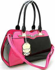 MEDIUM WOMEN LADIES MODA PATENT FAUX LEATHER PARTY TOTE SHOULDER HAND BAG AD38