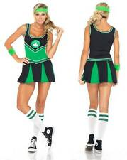 NEW WOMENS BOSTON CELTICS CHEER LEADER COSTUME HEN DOO FANCY DRESS PARTY OUTFIT
