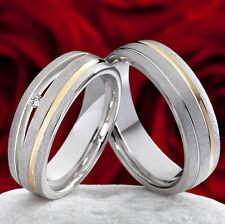 Eheringe Trauringe 925 Silber & 585 Gold mit echten Brillanten mit Gravur SPB018