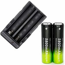 2PCS SKYWOLFEYE 5800mAh Li-ion 18650 3.7V Rechargeable Battery + Dual Charger