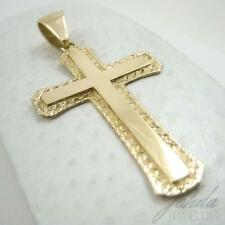 "BRAND NEW! Custom 14K Yellow Gold Large Diamond Cut Cross, 8.2 grams 2.75"" long"