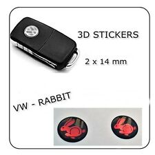 2x 3D STICKERS RABIT RUN VW BLACK - RED 14  mm   KEY FOB STICKER LOGO EMBLEM