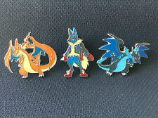 POKEMON MEGA CHARIZARD X & Y & MEGA LUCARIO OFFICIAL COLLECTOR'S PINS - NEW!