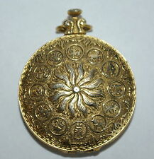 Powder Compact Astrology Pocket Watch Style with Mirror Older Gold Color