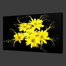 YELLOW FLOWERS SPLASH CANVAS WALL ART PICTURES PRINTS 20 x 16 Inch WALL ART