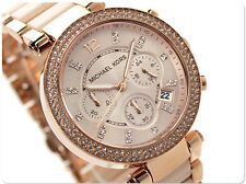 Michael Kors MK5896 Parker Rose Gold Blush Crystal Set Chronograph Watch U.S.A