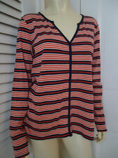 LILLA P Anthropologie Shirt Top M Pima Cotton From Peru Orange Blue Stripe Thin