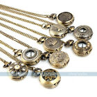 Unisex Steampunk Vintage Bronze Tone Skull Owl Pocket Chain Quartz Pendant Watch