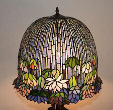 "19""W metal Base Lotus Water Lily Flower Stained Glass Tiffany Style Table Lamp"