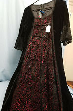 LIP SERVICE BLACK & RED velvet LONG Maxi Gothic Renaissance Vampire Dress large