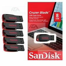Lot of 5 SanDisk Cruzer Blade 8GB USB 2.0 Flash Drive- SDCZ50-008G-B35