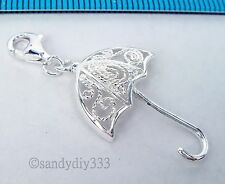1x STERLING SILVER UMBRELLA CHARM PENDANT EUROPEAN LOBSTER CLIP ON CHARM #1840