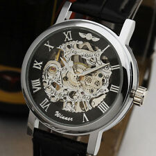 WINNER Skeleton Roman Numerals Stainless Steel Leather Watch New