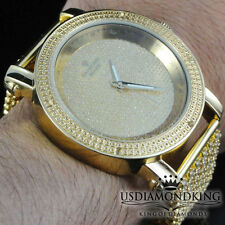 MENS NEW .06CT GENUINE REAL DIAMOND GOLD PLATED 6 ROW CUSTOM BAND WRIST WATCH