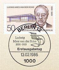 Berlin 1986: Ludwig Mies van der Rohe Nr. 753 mit dem Ersttags-Sonderstempel! 1A