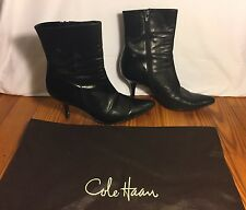 COLE HAAN Boots Black Side Zip Ankle High Heel Size 6.5 B With Dust Bag