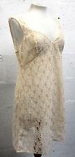 Vintage 1960s Bridal Lace Slip Dress LINGERIE LORA PARIS FRANCE Cream Size 12