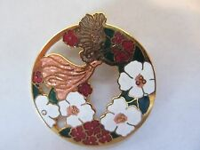 Vintage Enamel Art Nouveau Lady Style Fairy ? with Flowers Pin Brooch