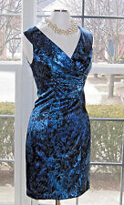 ***Connected Blue Black Satin Special Occasion Dress Size 8 EUC