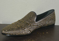 NIB GUCCI WOMENS SATIN WITH GOLD CRYSTALS LOAFERS SHOES EU 38 US 8 ITALY $1795