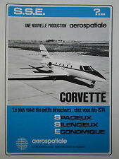 12/1972 PUB AEROSPATIALE AVION CORVETTE BIREACTEUR  BIZJET ORIGINAL FRENCH AD