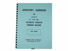 "Landis 16"" Type 4RH Crankpin Grinding Machine Operators Handbook Manual *1081"