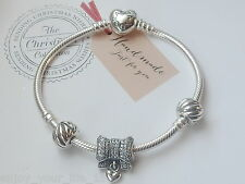 AUTHENTIC PANDORA SILVER HEART CLASP BRACELET-590719-18cm.WITH CHARMS