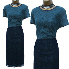 NEXT BLUE NAVY JACQUARD LACE COLOUR BLOCK COCKTAIL WIGGLE DRESS 18 TALL RRP £75!