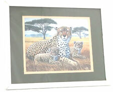 Cheetah with Cubs Lithograph Print-1994-Michael Matler-Signed/Matted/Framed