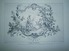 Planche gravure L'automne arabesque d'aprés Watteau suite des 4 saisons