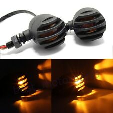 BLACK GRILL BULLET MOTORCYCLE TURN SIGNAL INDICATOR LIGHTS BLINKER FOR HARLEY