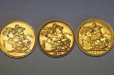 3 Stück 1 Sovereign 1871, 1891, 1900, kein Bruch oder Zahngold