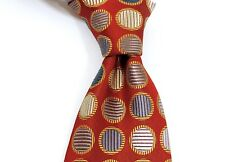 Jim Thomson - 100% Woven Silk Tie - Red with Silver/Blue Circles