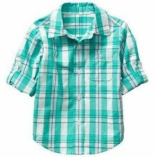 NEW Baby GAP Toddler Boys 3T Green Turquoise Plaid Cotton Long Sleeve Shirt