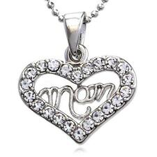 Mothers Day I Love You Mom Engraved Best Friend BFF Heart Pendant Necklace Charm
