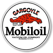 "6"" round MOBIL MOBILOIL GARGOYLE DECAL OIL CAN GAS PUMP GASOLINE"