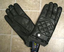 Men's $88 (L) POLO-RALPH LAUREN Diamond-Stitch Black ALL LEATHER Driving Gloves