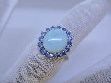 Natural Larimar Tanzanite Combination 10X12mm . 925 Sterling Silver Ring Size 7