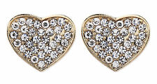 CLIP ON EARRINGS - gold plated heart earring with crystal diamantes - Whitney